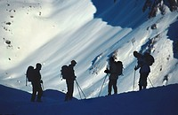 ski tourist, backcountry skiing, silhouette, Austria, Innsbruck