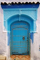 Typical Chefchaouen blue door. Rif region. Morocco