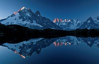 mountain reflection in lake, France, Chamonix