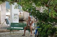 Square, Seating Man, Paraty, Rio de Janeiro, Brazil
