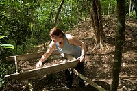 San Ignacio, Belize - An archaeology students helps excavate a section of the Cahal Pech Maya site in western Belize  Students on the project are volu...