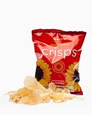 Packet of ready salted plain crisps with pile of crisps