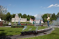 Model railway in Minimundus, replicas of famous buildings, Klagenfurt, Carinthia, Austria, Europe