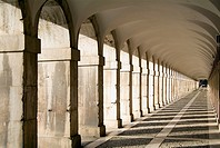 Arcades in the Plaza de las Parejas, South front of the Royal Palace, Aranjuez, Madrid province, Spain