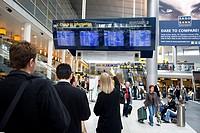 Departure board at Copenhagen Airport, Copenhagen, Denmark