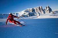 Skier on the Seiser Alm or Alpe di Suisi, South Tyrol, Italy