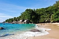 Beach, Creoles playing, Glacis, Mahe Island, Seychelles, Indian Ocean, Africa
