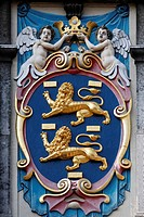 Cat of arms of West Friesland at the historical house of the provincial administration, now West Frisian Museum, Hoorn, North Holland, Province of Hol...