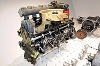 Porsche 6-cylinder engine disassembled, Neues Porschemuseum, New Porsche Museum, 2009, Stuttgart, Baden-Wuerttemberg, Germany, Europe