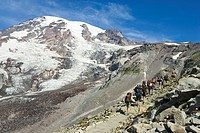 Hikers on Mount Rainier, Mount Rainier National Park, Washington, USA