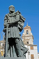 Monument, warrior, Moros, Cristianos, Moors, Christians, Plaza del Arco, square, Caravaca de la Cruz, sacred city, Murcia, Spain, Europe