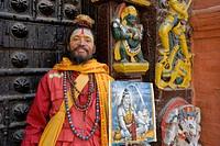 Sadu portrait n Katmandu City, Nepal, Asia