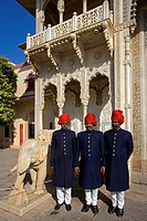 Guards at the City Palace in Jaipur City, Rajasthan, India, Asia