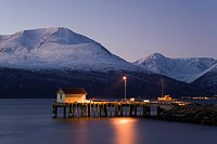 Harbour, Storfjorden, Fjord of Lyngen, polar night, winter, Norway