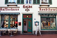 Historic house, confectionary and coffeehouse, Cafe Heldt, historic town centre in the Baltic sea seaside resort of Eckernfoerde, Rendsburg-Eckernfoer...
