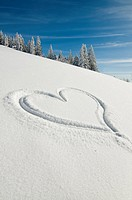 Heart drawn in powdered snow, Feldberg, Black Forest, Baden-Wuerttemberg, Germany, Europe