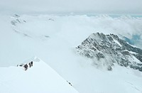 mountaineers at the Moench, Switzerland, Valais, Bernese Alps