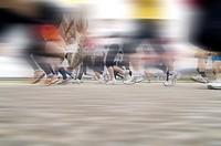 Marathon runners with motion blur, Freiburg marathon, 29.03.2009, Freiburg, Baden-Wuerttemberg, Germany