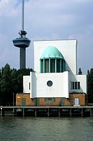 Maastunnel ventilation building and the Euromast, Park Kade, Parkhaven, Rotterdam, South Holland province, Netherlands