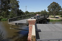 Historical mechanic turn bridge over the Latrobe River, Sale, Gippsland, Victoria, Australia