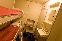 Sleeping cabin in a zeppelin, Zeppelin Museum, Lake Constance, Friedrichshafen, Baden-Wuerttemberg, Germany