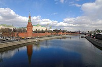 Moskva river embankment and Kremlin, Moscow, Russia
