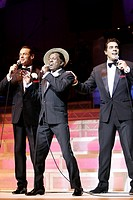 """The Rat Pack live from Las Vegas"", Chris Mann as Frank Sinatra, Michael Harris as Sammy Davis Jr. and Thimothy Sell as Dean Martin, premiere in Vienn..."
