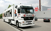 Truck of the Adolf Wuerth GmbH and Co.KG, businessgroup for fixing material, installation material and tools in Kuenzelsau, Baden_Wuerttemberg, German...
