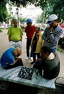 Two old men playing chess in a park, people watching, Parque Central, Centro Habana, Havana, Cuba, Caribbean