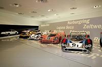 21 Porsche 917 LH Coupe, 23 Porsche 917/20 Coupe, 22 Porsche 917 KH Coupe, New Porsche Museum, Stuttgart, Baden-Wuerttemberg, Germany, Europe
