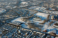 Aerial photo, Westpark Jahrhunderthalle Exhibition Hall, industrial monument, snow, Bochum, Ruhr district, North Rhine-Westphalia, Germany, Europe