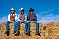 USA,Wyoming, a ranch cowboys, portrait