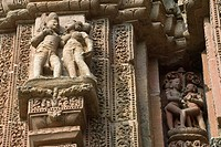 Bhubaneswar, Orissa, India. The 11th century ´Raja Rani´ temple is an architectural delight. It's made from reddish gold sandstone known as Rajarani a...