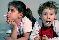 two children with lollies