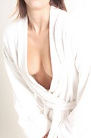 woman clad in a bathrobe