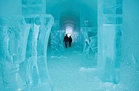 Long corridor in the Icehotel in Jukkasjaervi, Lappland, North Sweden, Sweden