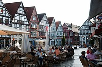 Market square, historic town centre, Rinteln, Weserbergland, Lower Saxony, Germany, Europe