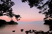 evening mood over the Bark Bay in the Abel Tasman National Park, New Zealand, Southern Island