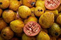 pineapple guava Acca sellowiana, fruit market, Portugal, Madeira, Funchal