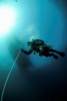 Scuba diver performing decompression, Anacapa Island, California, USA