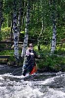angler at Kitkajoki River, Finland, Oulu, Kuusamo