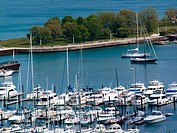Aerial View of Belmont Harbor boat and water looking north  Chicago, IL  USA