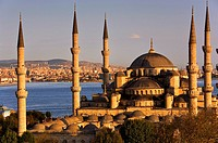 Mosque Sultan Ahmet  Blue Mosque and Bosphorus strait, in background Asian side  Istanbul  Turkey