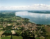 view on Dierssen from south with Ammersee, Germany, Bavaria, Diessen/Ammersee
