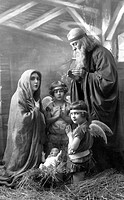 Historic photograph, holy family, Christmas, around 1920