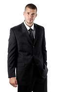 Young handsome man wearing a business suit  Isolated portait on white background