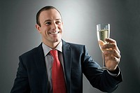 Businessman with a glass of champagne
