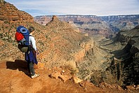 Grand Canyon National Park - Martha Gruelle backpacking near the top of the Bright Angel Trail in the Grand Canyon  MR