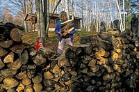 Lupton, Michigan - Susan Newell and her daughter, Mariel West, 2, collect firewood to heat the Birch Cabin in the Rifle River State Recreation Area  M...