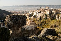Huecar river gorge and panoramic view of the city with rock formation and church of San Pablo at fore, Cuenca. Castilla-La Mancha, Spain